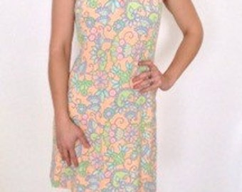 French vintage 1960s pastel nude halter neck dress - small medium S M