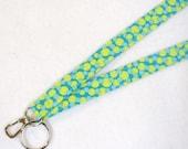 Colorful Lanyard Breakaway Lanyard ID Badge Holder ID Clip Key Ring Fob Fabric Lanyard Bubbles Dots Lime Turquoise