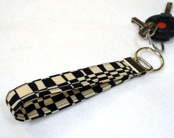 Wristlet Key Fob Luella Doss Fabric Key Fob Keyring Black Cream Checkerboard Op Check Hot Flash Handmade MTO
