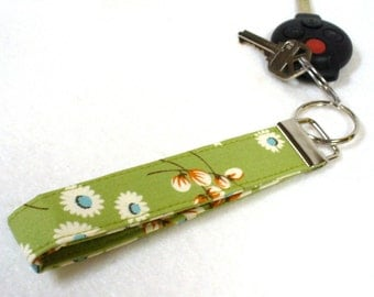 Wristlet Key Fob Amy Butler Fabric Ginger Bliss Willow Daisy Key Chain Key Ring Fabric Sage Green MTO