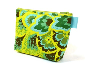 CLEARANCE SALE Peacock Feathers Amy Butler Fabric Cosmetic Bag Zipper Gadget Pouch Makeup Bag Cotton Zip Pouch Turquoise Chartreuse Green