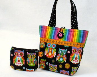 Colorful Owls Little Girls Purse Mini Tote Bag and Coin Purse Set Black Hot Pink Lime Turquoise Orange RainbowHandmade MTO