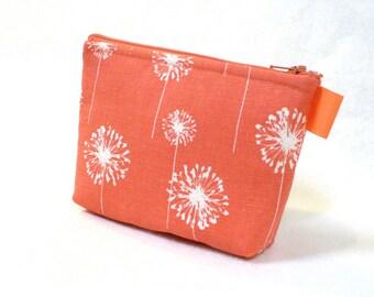 Coral White Dandelion Fabric Gadget Pouch Cosmetic Bag Zipper Pouch Makeup Bag Cotton Zip Pouch Salmon MTO