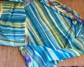 Blue and Green Striped Scarf