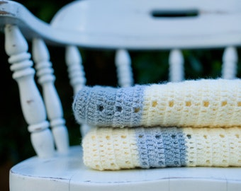 Hand Crocheted Lap Afghan - Soft buttery Yellow with Multi Gray stripes
