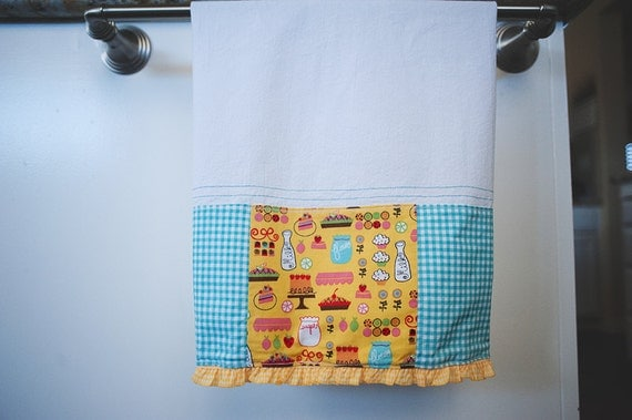 turquoise and yellow kitchen towel by islandgirlsj on etsy