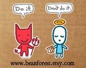 devil angel vinyl stickers kawaii decal angel sticker decal bumper sticker - laptop decal
