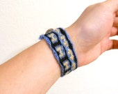 Tablet Woven Bracelet - Blue, Yellow, Black with Paper Button