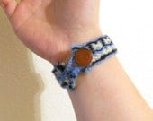 Tablet Woven Bracelet - Blue, Yellow, Black with Leather Button