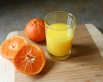 """Fake Glass of Orange Juice 3-1/2"""" Tall Faux Food Staging Photo Prop"""