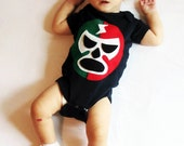 Luchador Rojo + Verde - Red + Green Mexican Wrestler Infant Bodysuit