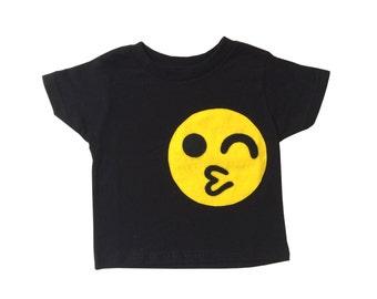 Emoji Wink Smiley Toddler T-Shirt [BLACK]