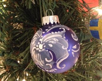 Small blue glass Norwegian rosemaled ornaments