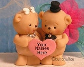 Teddy Bear Wedding Cake Topper with Personalized Heart