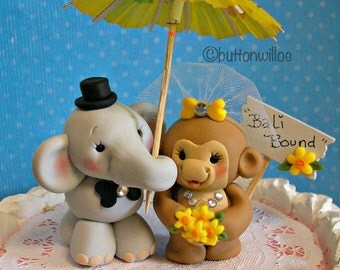 Tropical Elephant and Monkey Wedding Cake Topper