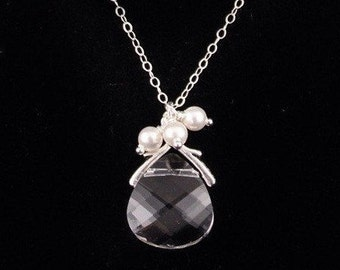 Wedding Jewelry, Bridal Jewelry Crystal Briolette Bridesmaid Necklace, Bridal Party Gift