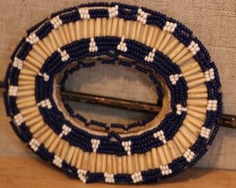 Authentic Native American Hair Barrette BEADED Buckskin Leather