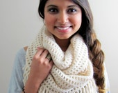 Chunky Infinity Scarf Womens Scarf Circle scarf Winter Shawl wrap Gift for Her Bohemian Knit Chunky Cowl Cream or Choose Color FLASH SALE!