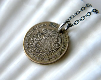 Sterling silver necklace with genuine cinco centavos coin - 1972 - handmade jewelry