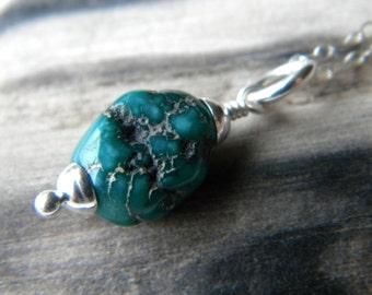 December birthstone - Blue green turquoise nugget sterling silver necklace - handmade Southwestern semiprecious gemstone jewelry