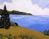 Big 24x36 Impressionist Painting CALIFORNIA Plein Air Landscape Pacific OCEAN BAY Art Lynne French