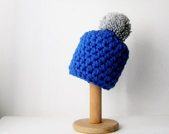 Pom Pom Beanie Knit Hat Color Block Pompom Grey and Cobalt Blue Chunky Women's Beanie - MADE TO ORDER