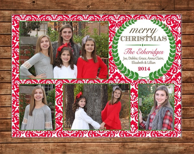Christmas Holiday Photo Card Red Damask - Can Personalize - Printable File or Printed Cards