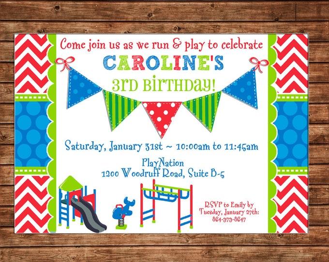 Girl or Boy Playground Park Slide Party Birthday Invitation - DIGITAL FILE