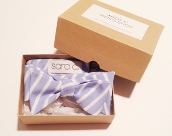 Mens Bow Tie - Self Tie - pale blue and white stripe - groomsmen tie - personalized - embroidered - monogrammed