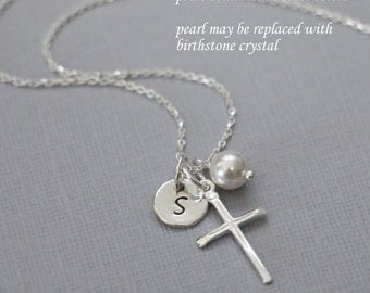 Baptism Gift, Personalized Cross Necklace, Sterling Silver Cross Necklace, Tiny Cross Necklace, Flower Girl Gift, Confirmation Gift