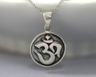 Oxidized Sterling Silver Yoga Necklace, Sterling Silver Om Necklace, Sterling Silver Yoga Pendant on Sterling Silver Necklace Chain