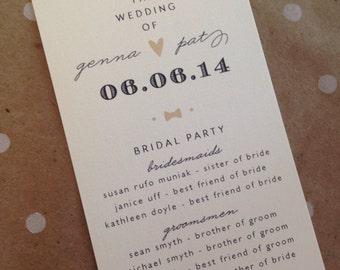 Black + tan great gatsby wedding programs