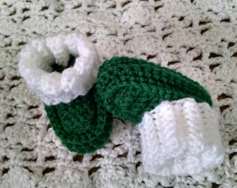 Emerald green with white cuff booties