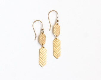 "Solid 14K yellow gold earrings completely handmade with eco-consciously sourced gold in a modern and edgy design - ""Gold Chevron Earrings"""