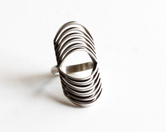 "Modernist sterling silver ring, unique and visually prominent jewelry design of curved wires - ""Tribe ring"""
