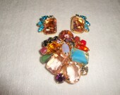 Amazing Colorful Vintage Brooch and Earring Set