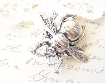 Silver Bumble Bee Brooch - Ox Silver Bumblebee - Woodland - Wings - Nature