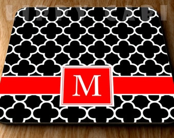 Clover Mouse Pad Monogram Mousepad Pattern Mousepad Custom Design Mouse Pad Custom Mousepad Personalized Monogram Mouse Pad Black and Red
