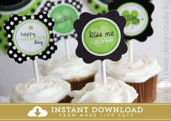 ST. PATRICK'S Day - Printable Party Circles - DIY So Lucky Collection - Instant Download - by Make Life Cute