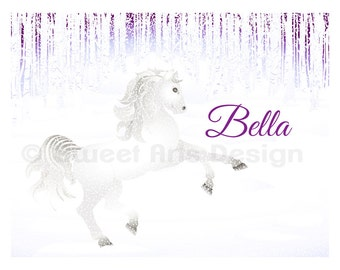 Stallion in the Snow  -  Wall Print  (or)  Greeting Cards