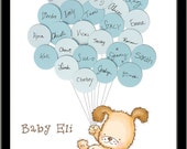Puppy Dog Themed Baby Shower Guestbook Print - Boy