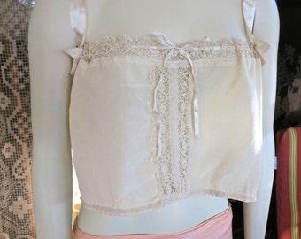 1920s Antique Ivory Silk Bobbin Lace Trim Corset Cover Boudoir Camisole Flapper Lingerie 30-38 Bust