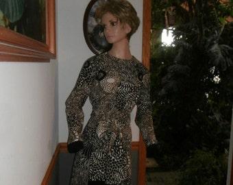 Womens  Long Sleeve Polyester Dress ~ 70's Bleeker Street ~Mod ~ Black Brown White~ Graphic Dress with Original Belt