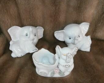 Elephants White~ Trunk-up ~Three Matching  Figurines ~ Elephant's  Handmade Signed ~Ring/Trinket Holders