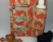 Massage Therapy single lotion bottle with 3 side pockets RIGHT hip holster, Koi print, black belt