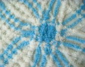 Sky Blue Plush Wedding Ring Vintage Cotton Chenille Bedspread Fabric 18 x 24 Inches