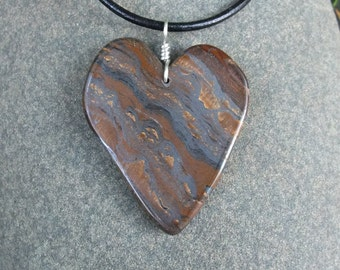 Large Tiger Iron heart pendant necklace - Golden Tigers Eye, Hematite, Red Jasper  - natural stone jewelry from Australia