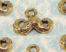 5 Mustache Charms 16mm Gold Plated Pewter LAST LOTs Jewelry Supplies Handlebar Mustache Trendy Charm Bulk for Earrings Bracelets Pendants