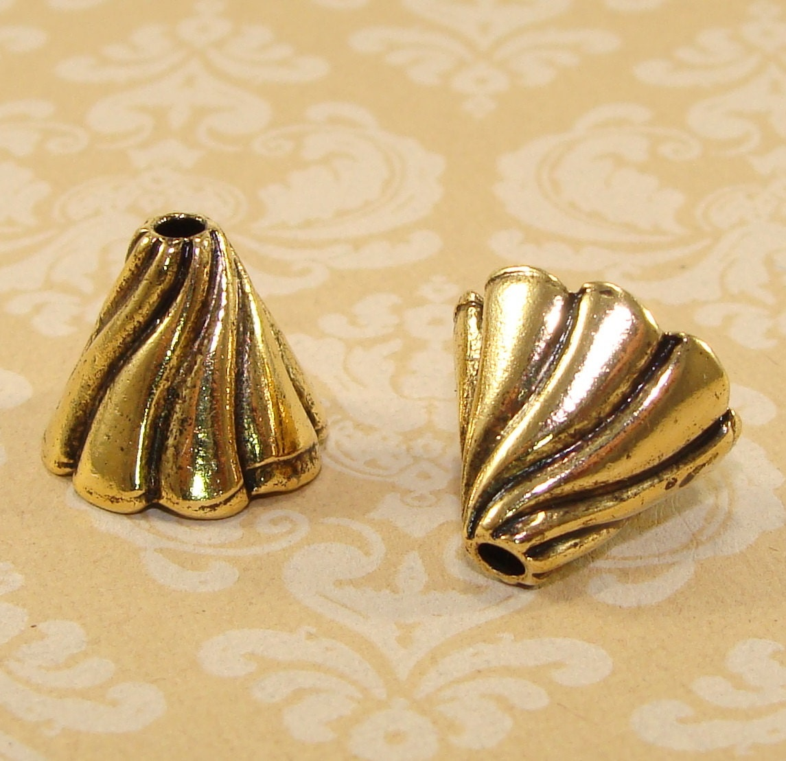 Gold swirl end cap cones jewelry bead mm by