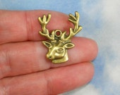 6 Stag Big Buck Head Charms Antique Bronze Tone Deer (P1705)